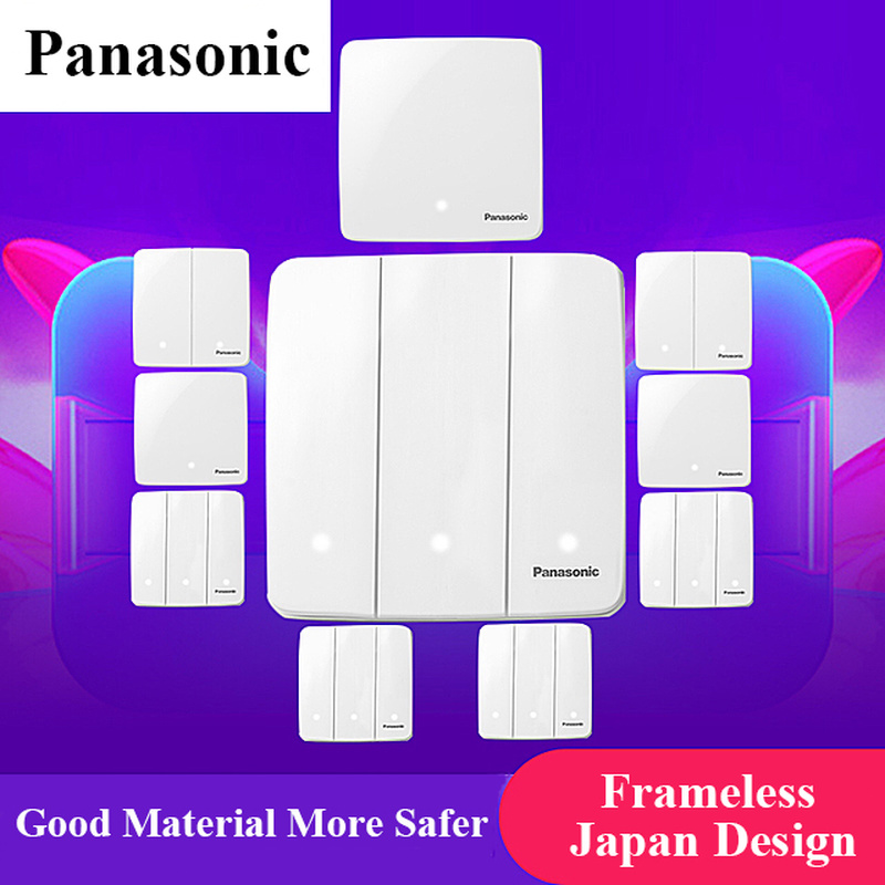 Panasonic Luxury Wall Switch EU Standard Light Switch,switch Power,Crystal Glass,1 2 3 4 Gang 1 Way Switch,220-250V