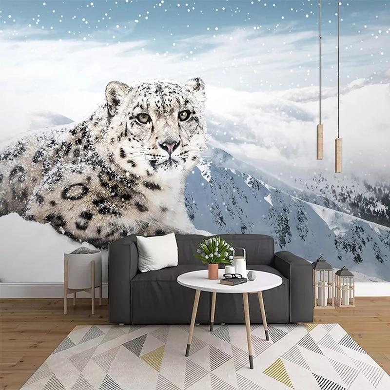 Custom 3D Photo Poster Wallpaper Murals Animal Leopard Snow Mountain Living Room Sofa Bedroom Background Wall Mural Home Decor