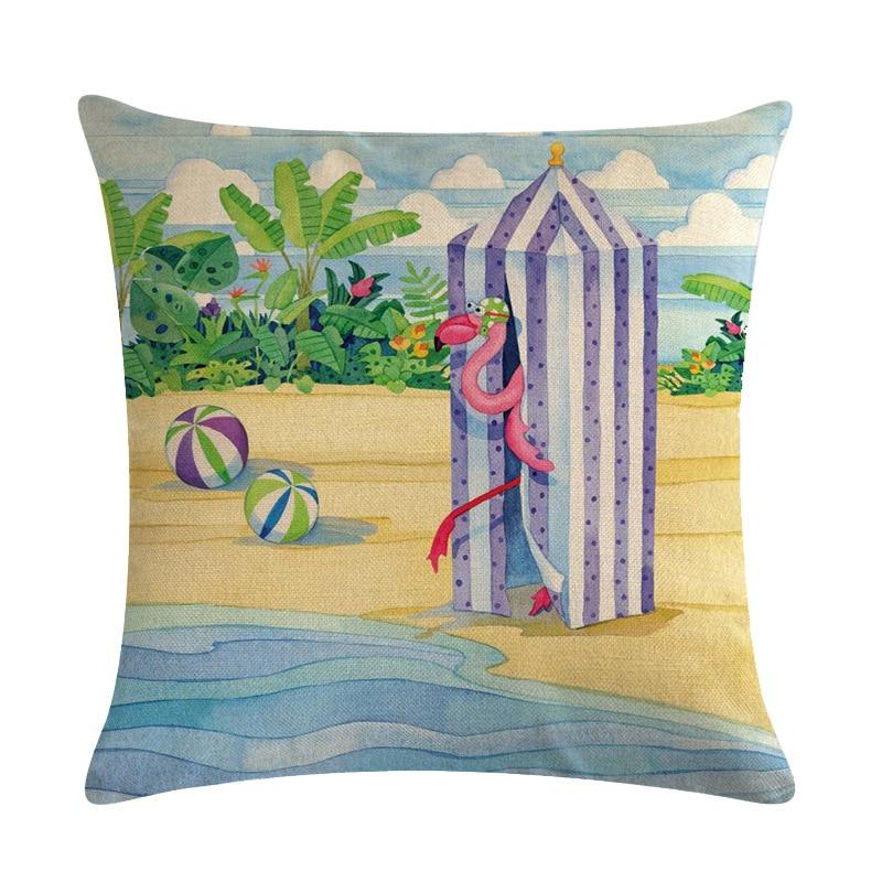 Image 5 - Cartoon Flamingo Bird Pink Cushion Cover Green Tropical Plants Print Linen Pillow Case Mediterranean Decorative Car Home Room-in Cushion Cover from Home & Garden
