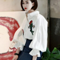[TWOTWINSTYLE] 2017 Spring Rose Embroidery Loose Long Puff Sleeve T Shirt Women Fashion Top Clothing
