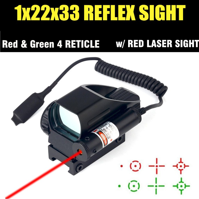 Red Dot Sight 4 Type Reticle Reflex Scope Red Laser Combo Fit 20MM Rail With Remote Button For Hunting Airsoft HT5-0044