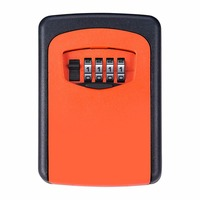 Giantree 4 Digit Password Storage Case Safe Box Key Lock Box Premium Durable Alloy Orange Wall