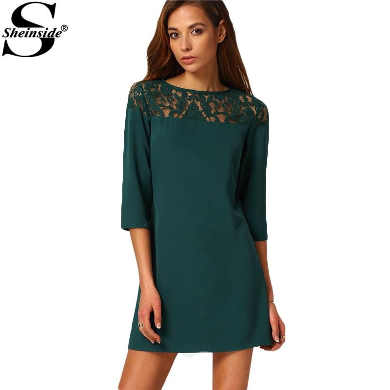 Sheinside Female Shift Dresses Women Vestiti Donna Casual New Arrival Dark Green Three Quarter Length Sleeve Mini Dress