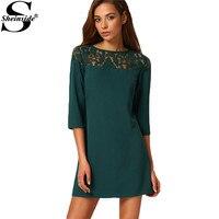 Sheinside Female Shift Dresses Korean Designer Casual New Arrival High Street Dark Green Three Quarter Length