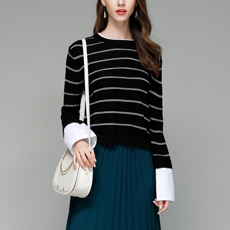Shirts Light Sleeve white Pop Female Fashion Striped Sweater Autumn Tan Women Long Tops Knitted Loose black Patchwork Pullovers Sweaters Shirt ZadpUnU8