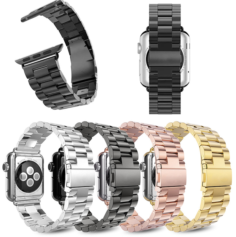 Stainless Steel Metal Strap Band for Apple Watch Band 38mm 42mm Series1 Series2 Series 3 Sport Black Silver Gold Watchband стоимость