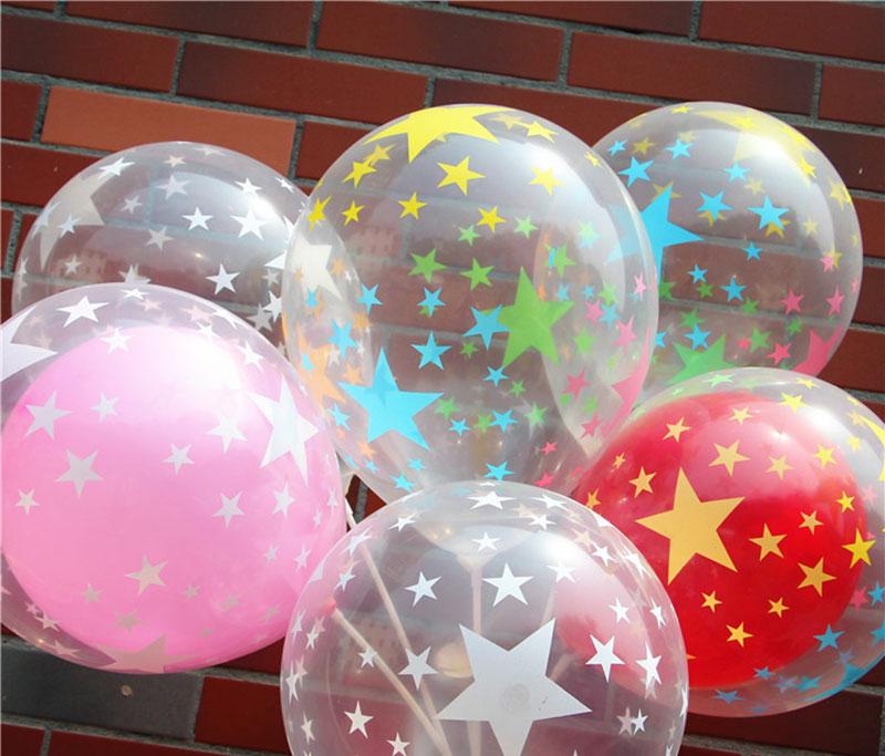 caliente pentagrama de color transparente del globo de ltex de 12 pulgadas 20 unidslote