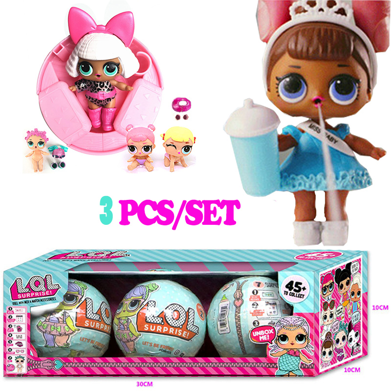 3Pcs/Lot 10cm Magic LOL Surprise Doll Baby Dress Up Surprise Ball Action Figure Toys for Children Girls Christmas Gift