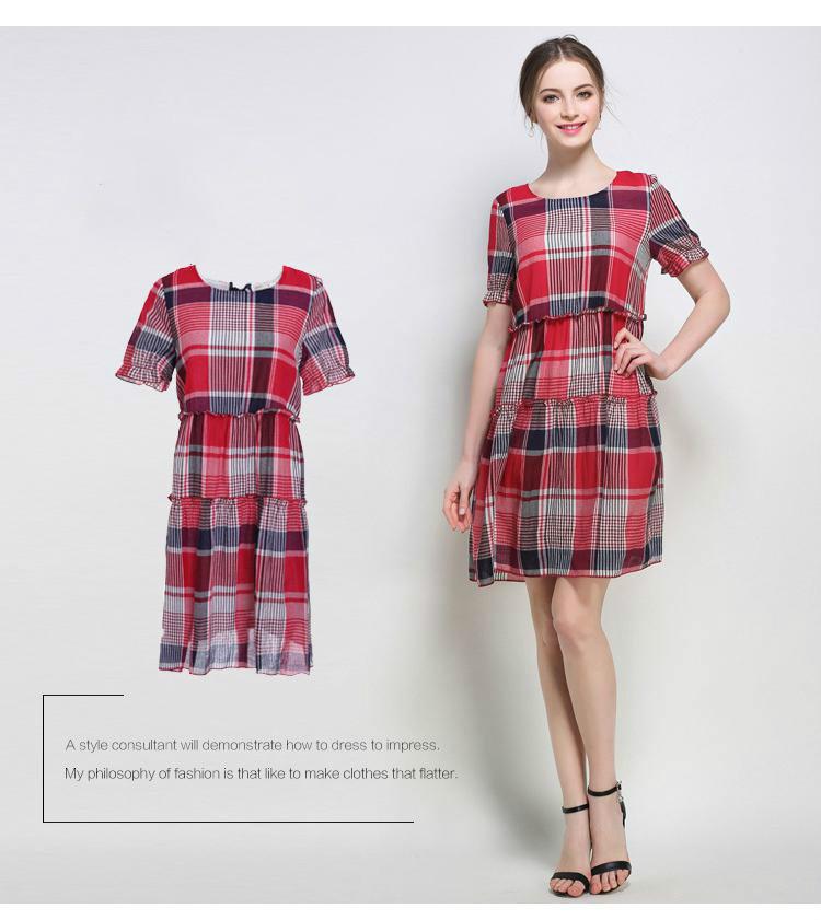e77af9902f6 Ryeon 5xl Plus Size Plaid Summer Dresses Women Casual A line Short ...