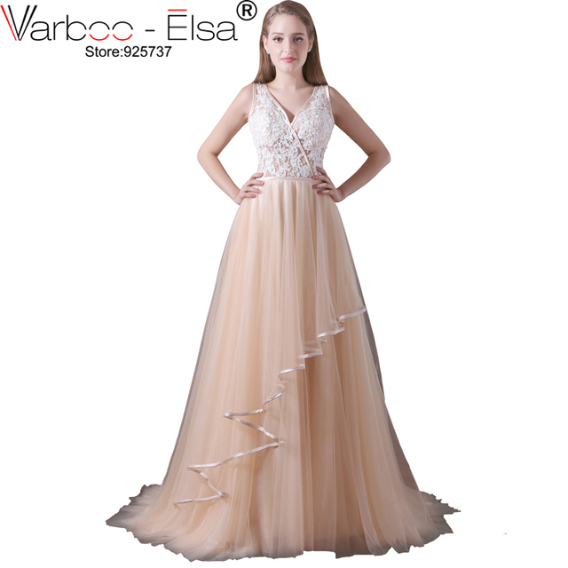 a260dc1337a5 VARBOO_ELSA Champagne Tulle Evening Dresses Sexy Backless V-neck Long Prom  Dress 2018 Appliques Beaded Homecoming Dresses Custom