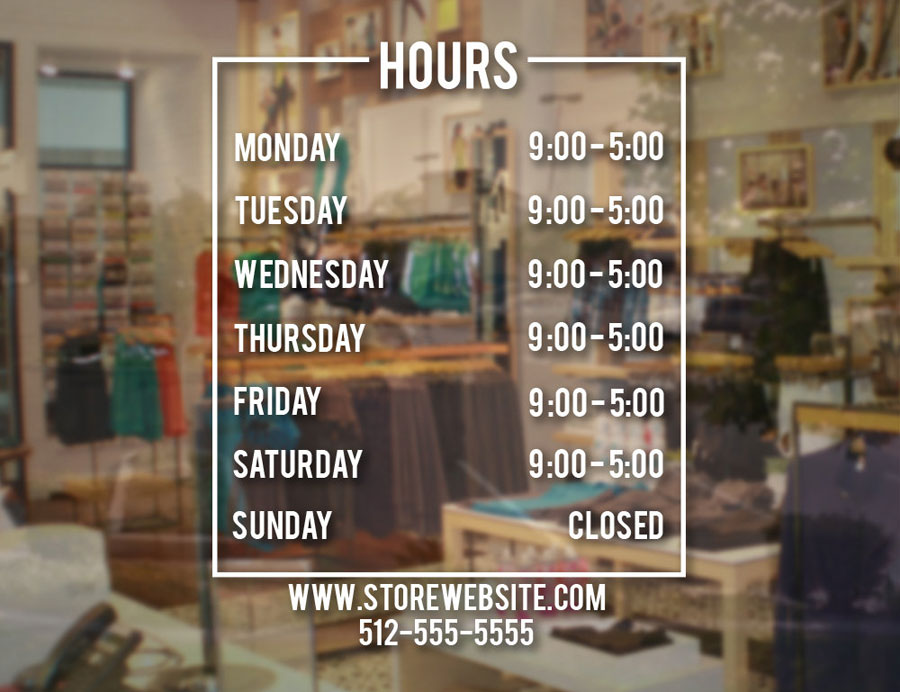 Store Hours Sign Business Vinyl Decal Hours Of Operation