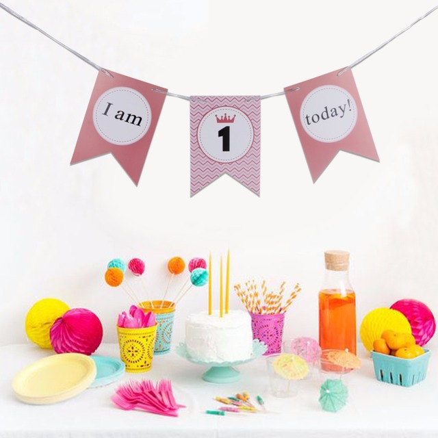 happy 1st birthday banner girl baby s the first birthday party booth