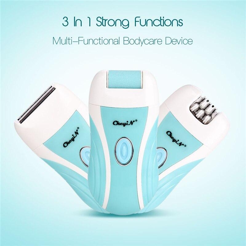 3 in 1 Electric Epilator Feet Heel Callus Remover USB Rechargeable Hair Shaving Razor Lady Shaver Underarm Bikini Leg Depilator