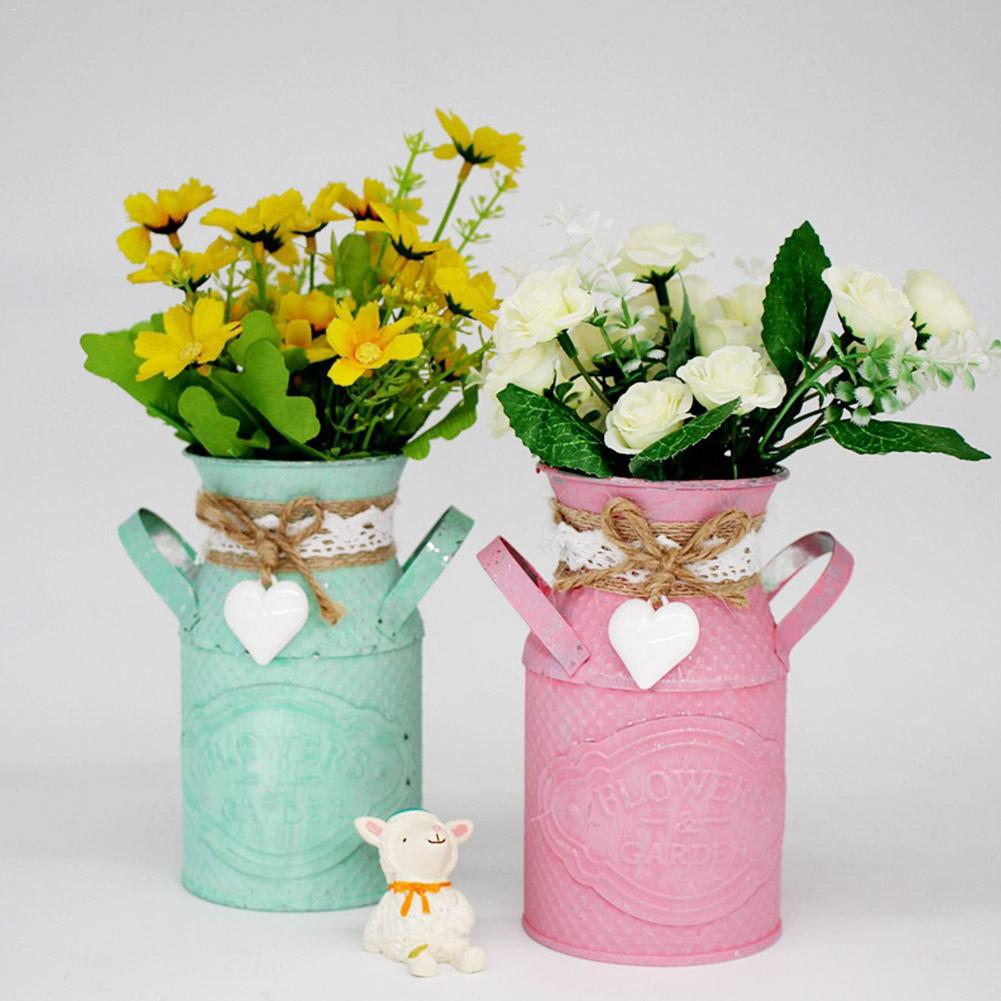 Simple Innovative Cylindrical Flowerpot Room Personalized Flower Planter Shop Pastoral Ornament Iron Craft Planting Flower Vase