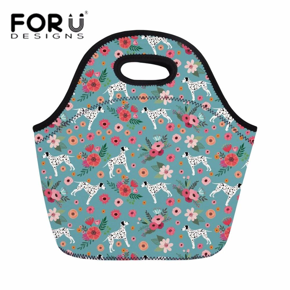 FORUDESIGNS Neoprene Lunch Bag For Women Picnic Travel Food Bags Dalmatian Flower Printing Students School Snacks Meal Bag Bolsa