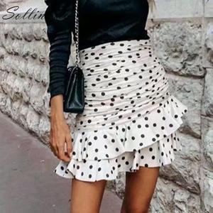 Image 2 - Sollinarry polka dot elegante saias curtas mulheres de cintura alta moda outono babados saias senhoras inverno bodycon saia fina retro