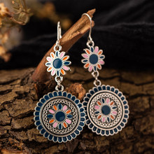 Vintage Ethnic Flower Oil Drop Dangle Hanging Earrings for Women Female 2018 Fashion Lovely Ear Ornaments Jewelry Accessories(China)