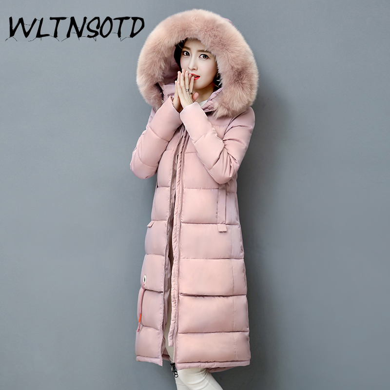 2017 winter New cotton coat women long Slim thick Hooded Big Fur collar  jacket Female fashion badge pattern warm overdress 2017 winter new cotton coat women slim long hooded thick jacket female fashion warm big fur collar solid hem bifurcation parkas