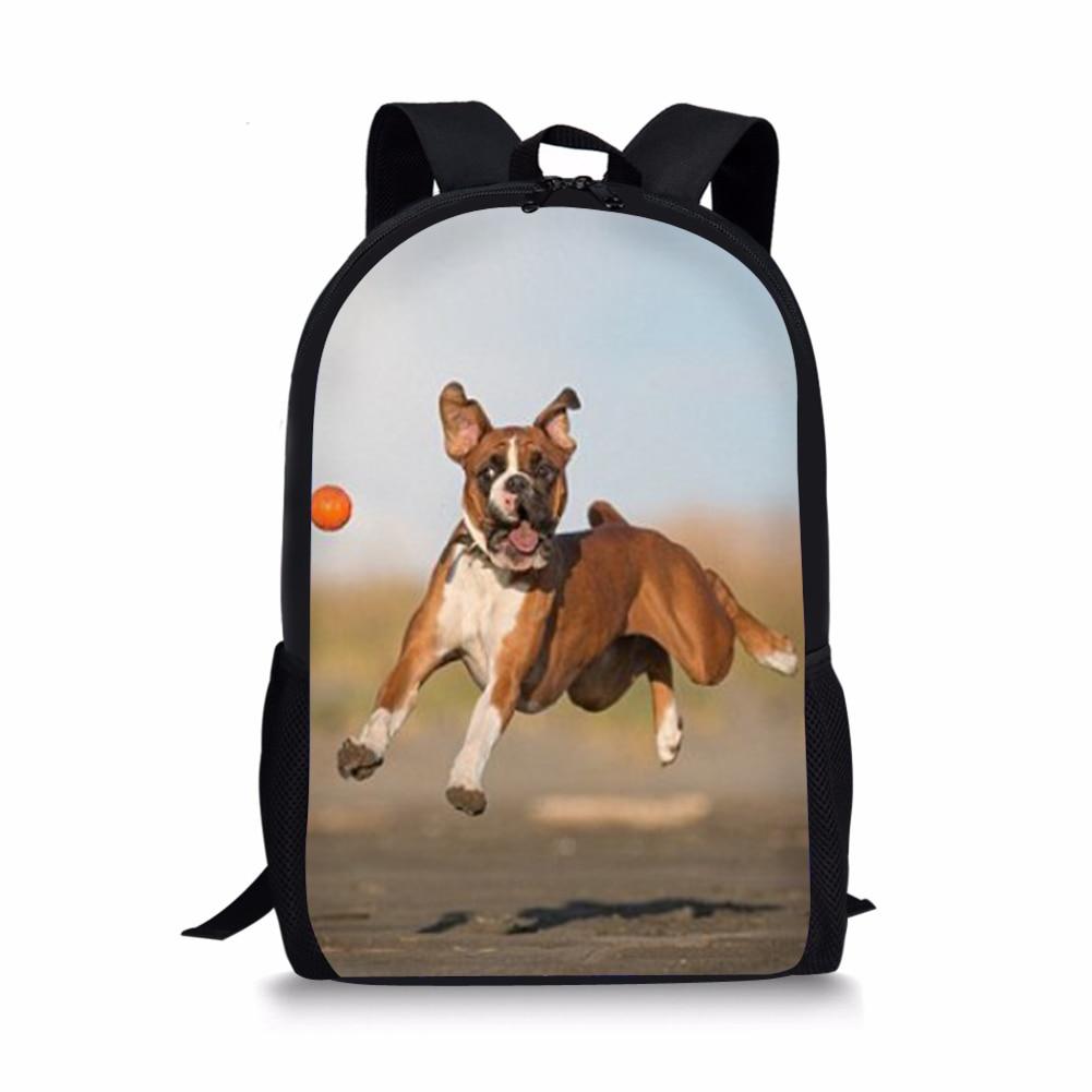 3D Printing Kids School Bags For Boys Girls Cute Boxer Dog