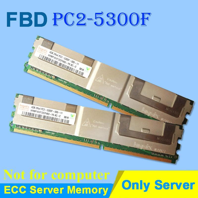 זיכרון שרת עבור Hynix HP DDR2 4GB 8GB DDR 2 667MHz PC2-5300 2Rx4 4Rx4 FBD ECC PC2-5300F FB-DIMM זיכרון שנאגרו במלואו DIMM DDR2