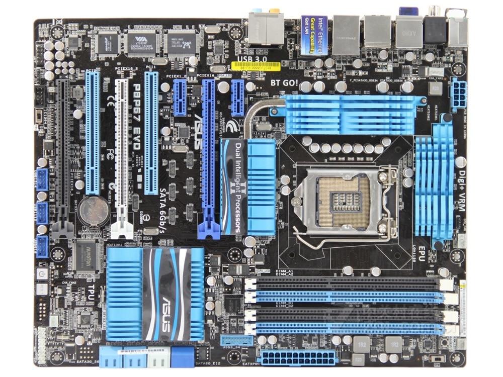 ASUS P8P67 EVO Original Desktop Motherboard LGA 1155 DDR3 32GB For I3 I5 I7 CPU USB2.0 USB3.0 P67 Motherboard
