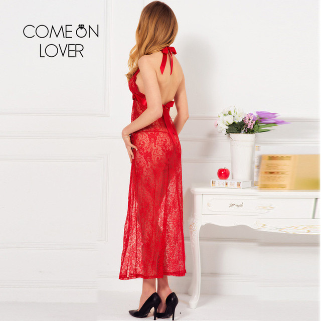 RI80337 Comeonlover Pluse Size Red Backless Halter Exotic Dress New Sheer Floral Lace Long Robe Hollow Out Slit Long Night Gown 2