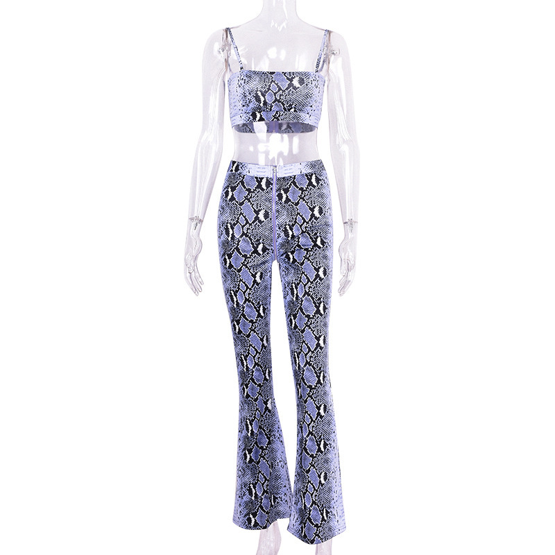 Purple Snake Skin Crop Top And Pants 2 Pieces Set 18