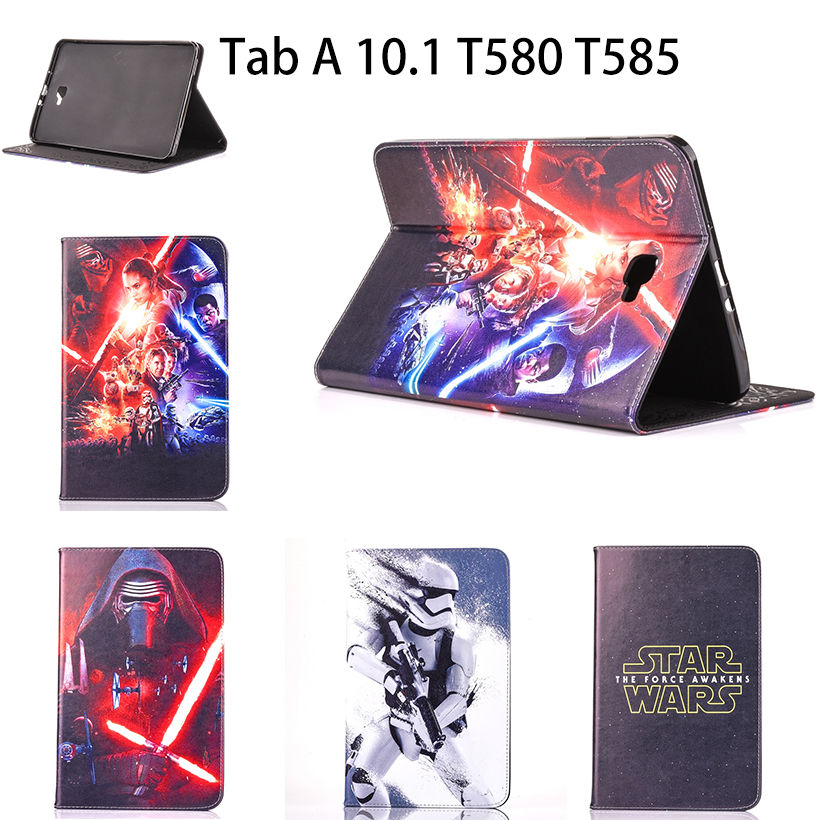 3D Science Fiction Movie Star Wars Case For Samsung Galaxy Tab A A6 10.1 2016 T580 T585 T580N Cover Tablet Stand Leather Funda