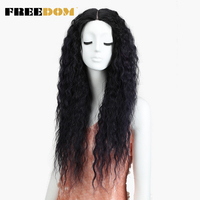 FREEDOM Synthetic Lace Front Wigs For Black Women curly hair Ombre Purple Black Wigs 28 High Temperature Fiber Glueless