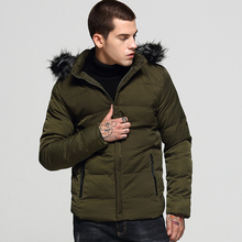 Korean Style Fashion Winter Jackets Men Slim Fit Hooded Coats Casual Outwear Fur Collar Thick Velvet Parka Men Warm Jacket Homme цены онлайн