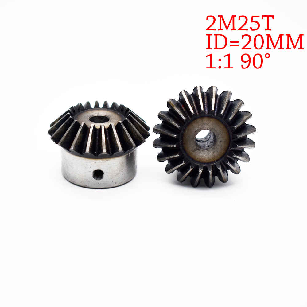 цена на 1Piece 20mm 1:1 Bevel Gear 2 Modulus 25 Teeth With Inner Hole 20mm 90 Degree Drive Commutation Steel Gears Screw Hole M5