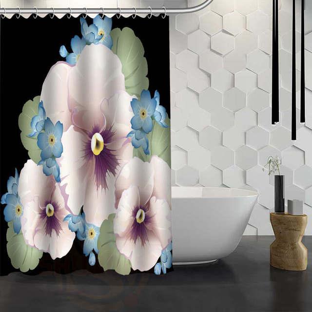 CHARMHOME Hot Sale Custom Pansies Flower Shower Curtain Waterproof ...