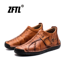 ZFTL New Mens casual shoes genuine leather Handmade Business Leisure man Big Size 38-46 soft skin Driving male  024
