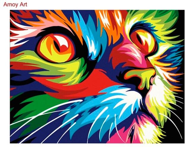 Enmarcado pintura al óleo de DIY por números animal colorido gato ...