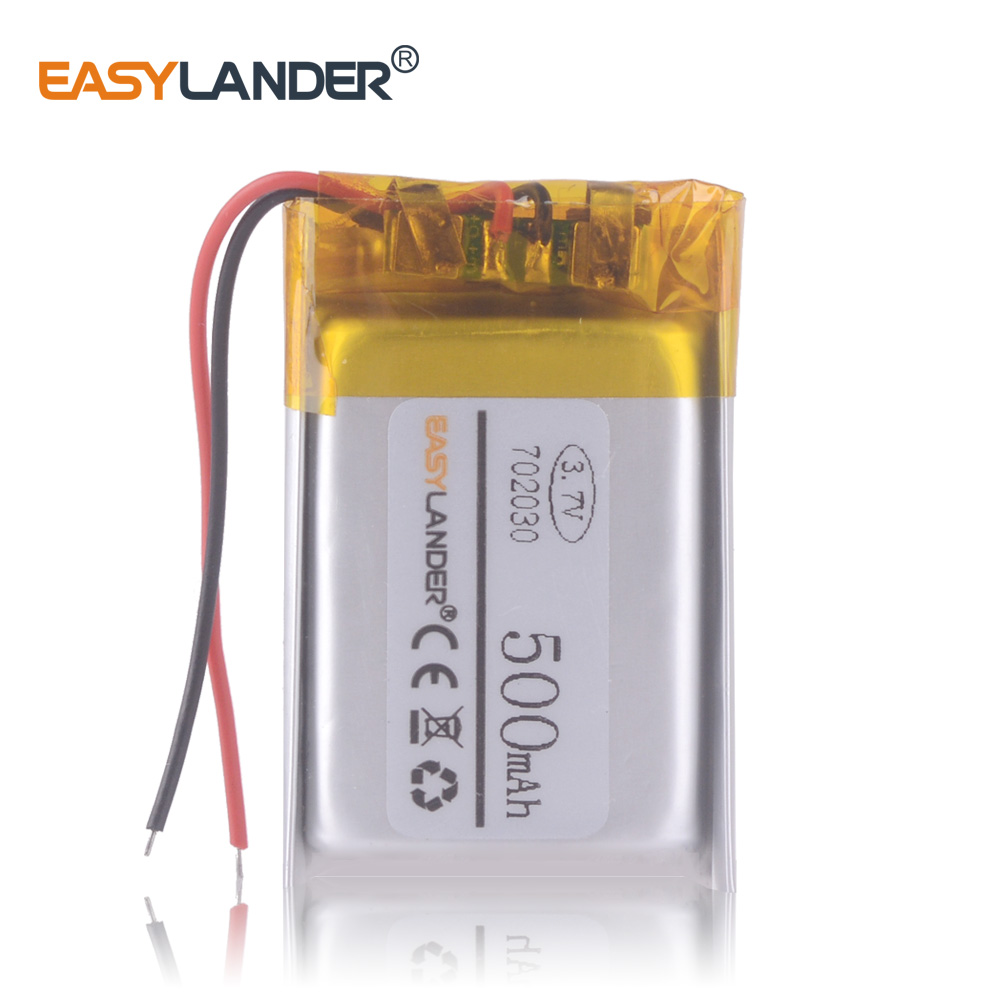 Polymer lithium battery 3.7 V, 702030 500MAH for headlamp with <font><b>q5</b></font> led remote control recorder Smart <font><b>Watch</b></font> DVR image