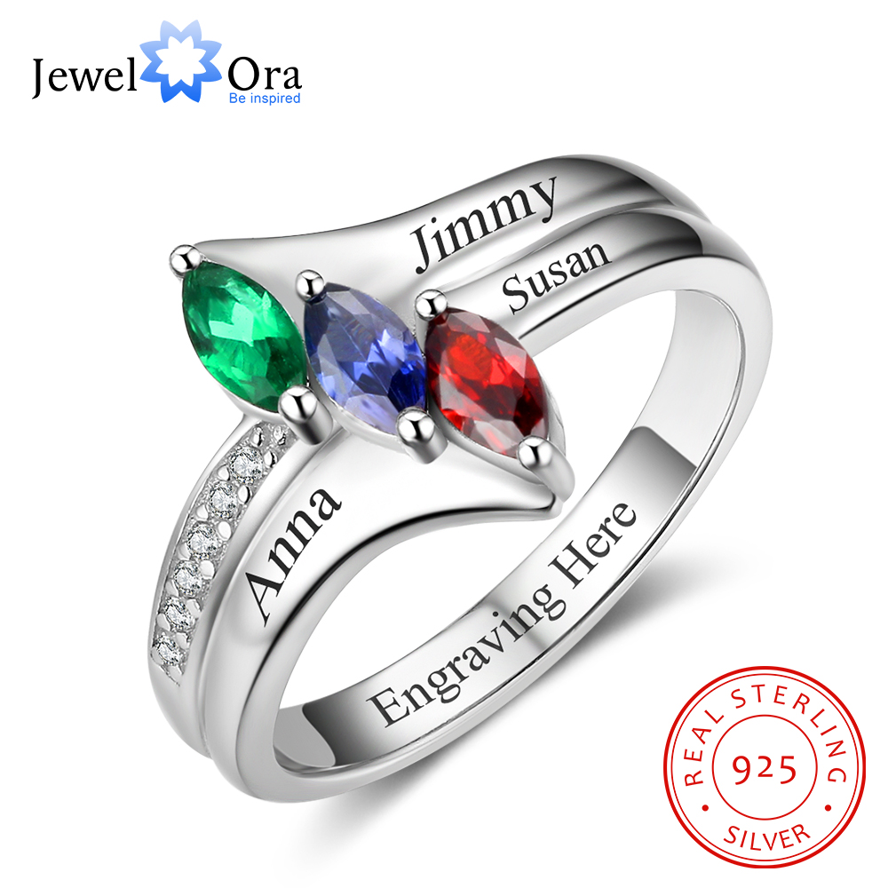 Family Ring Personalized Birthstone Engrave Name Rings 925 Sterling Silver Jewelry Anniversary Birthday Gift (JewelOra RI102985) personalized birthstone ring 925 sterling silver heart stones engrave name jewelry engagement gift mother rings ri101793