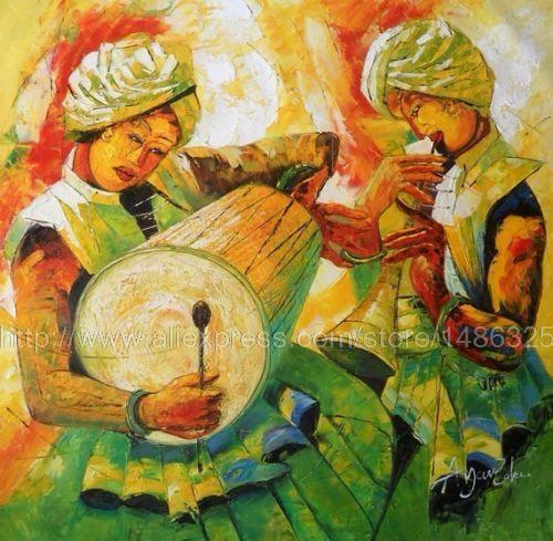 Indian Oil Painting On Canvas Painting Very Bright Large Wall ...