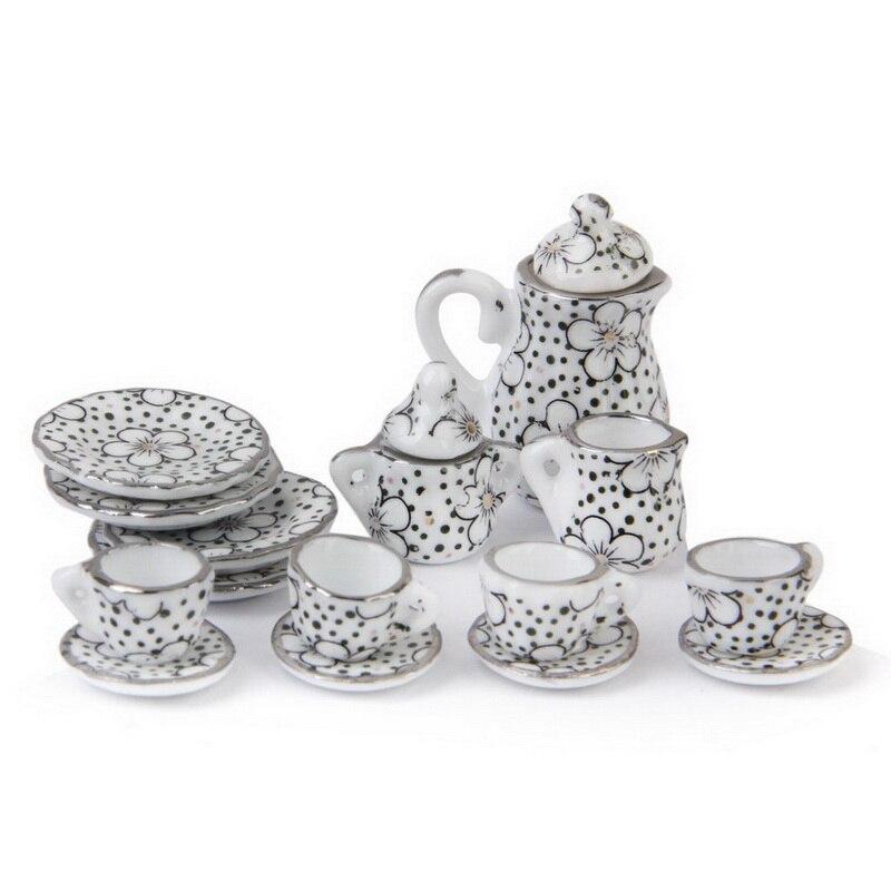 Hot 1/12 Dollhouse Miniature Dining Ware Porcelain Tea Set 15pcs Daisy Pattern