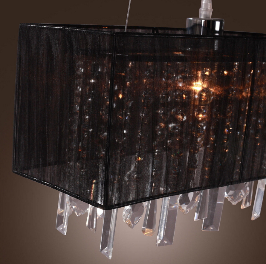 Black romantic pastoral drawing rectangle restaurant kitchen light black romantic pastoral drawing rectangle restaurant kitchen light crystal chandelier lighting fixtures vintage silk pendant in pendant lights from lights mozeypictures Images