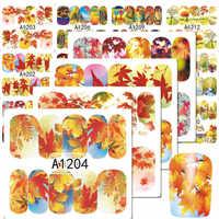 1Sheets NEW Nail art Wasser Transfer Aufkleber Herbst Ahorn Blatt Mixed Schönheit Voll Wraps Wasserzeichen Maniküre Decals LAA1201-1212