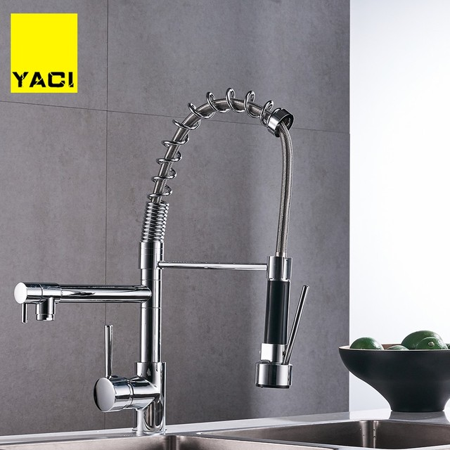 Us 72 6 45 Off Chrome Spring Pull Down Kitchen Faucet Dual Spouts 360 Swivel Handheld Shower Kitchen Mixer Crane Hot Cold 2 Outlet Spring Taps In