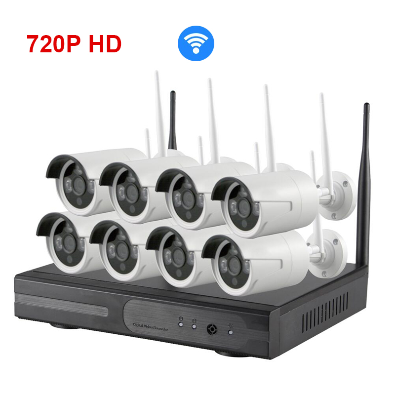 Wireless 8ch 720p HD Wifi IP Camera NVR Security system all in one NVR KIT 8 Channel Recorder IP DVR for IP Cam infrared webcam escam hd 8ch nvr for wireless ip camera