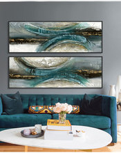 canvas paintings oil painting abstract modern blue-green for living room wall art cuadros modernos home decor posters