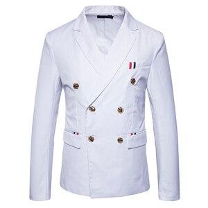 Image 2 - 新 2019 スリムカジュアルスーツのジャケットの男性のダブルブレスト秋冬ファッションパーティー無地フィットスーツコート男性 EU/us サイズ