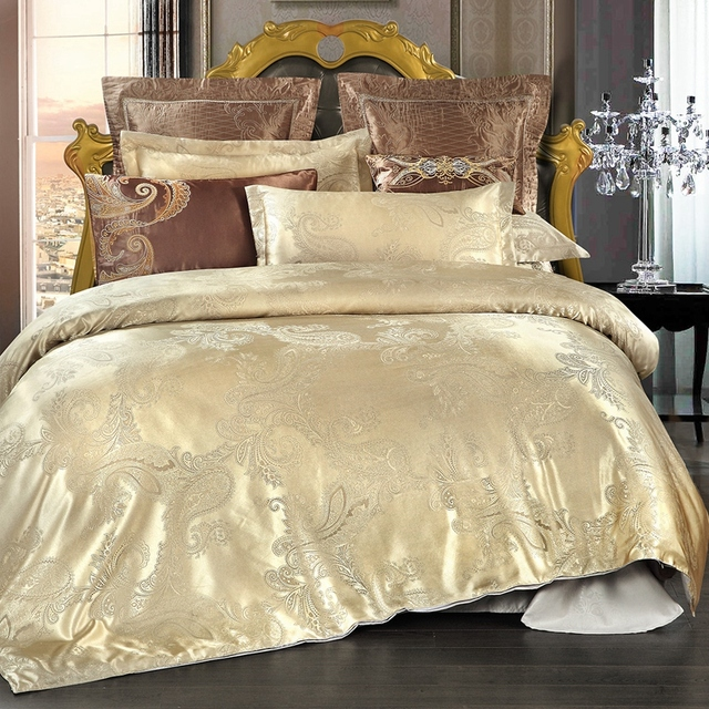 Golden Jacquard Bedding Sets Satin Bed Set 4pcs Duvet Cover Bedclothes Good Quality Polyester Sheet