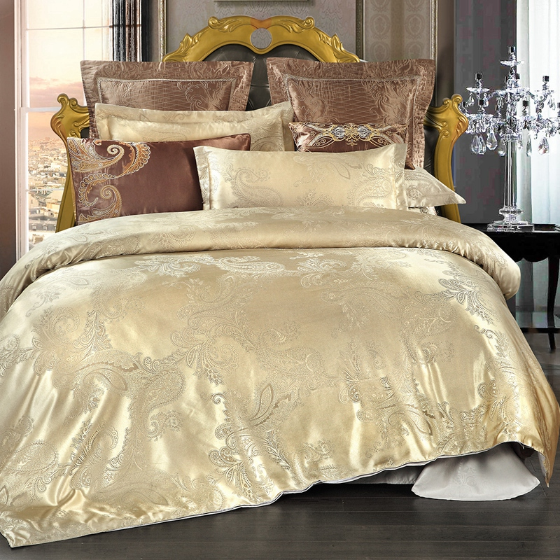 Golden Jacquard Bedding Sets Satin Bed Set 4Pcs Duvet Cover Bedclothes Good quality poly ...