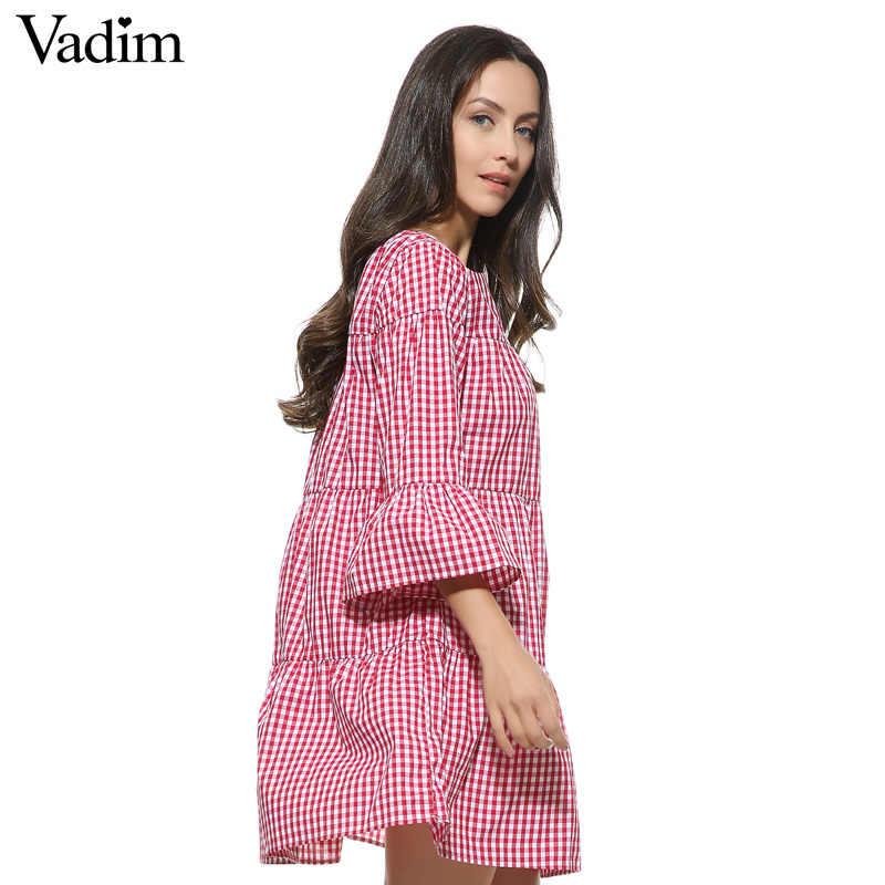 Femmes surdimensionné plissé robe à carreaux été élégant à carreaux flare manches lâche décontracté doux robes vestidos QZ2821