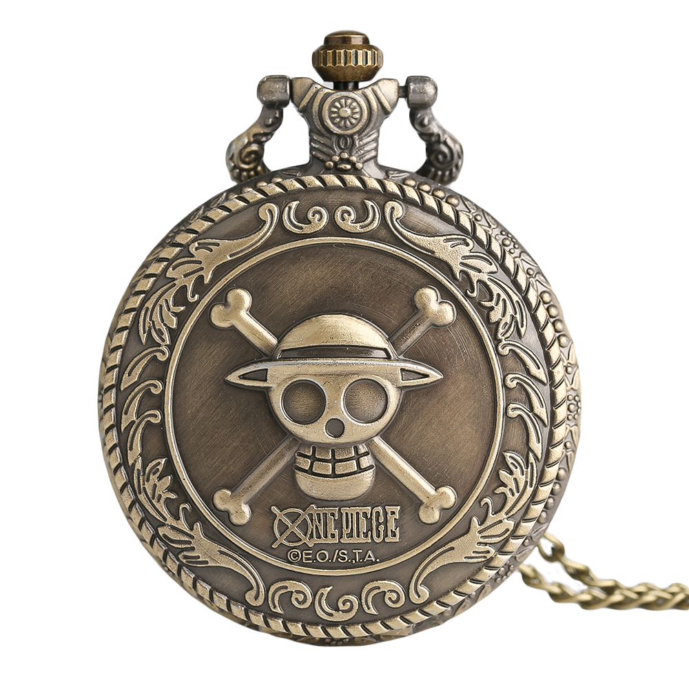 Animation One Piece Cosplay Steampunk 3D Bronze Pocket Watch With Necklace Chain Free Shipping Best Gift To Children