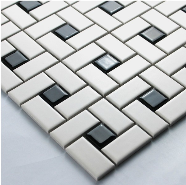 White Color Strip Ceramic Mixed Black Color Square Ceramic Mosaic Tiles Kitchen Backsplash Wall Bathroom Wall