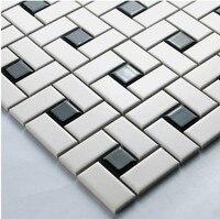 White Color Strip Ceramic Mixed Black Color Square Ceramic Mosaic Tiles Kitchen Backsplash Wall Bathroom Wall